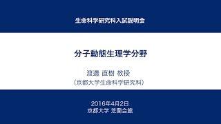 京都大学 生命科学研究科入試説明会 [分子動態生理学分野] 渡邊 直樹 教授