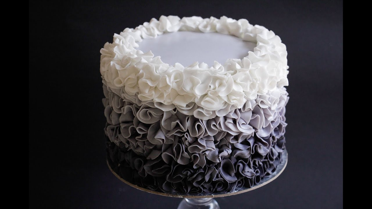 Fondant Ruffle Rose Cake Tutorial