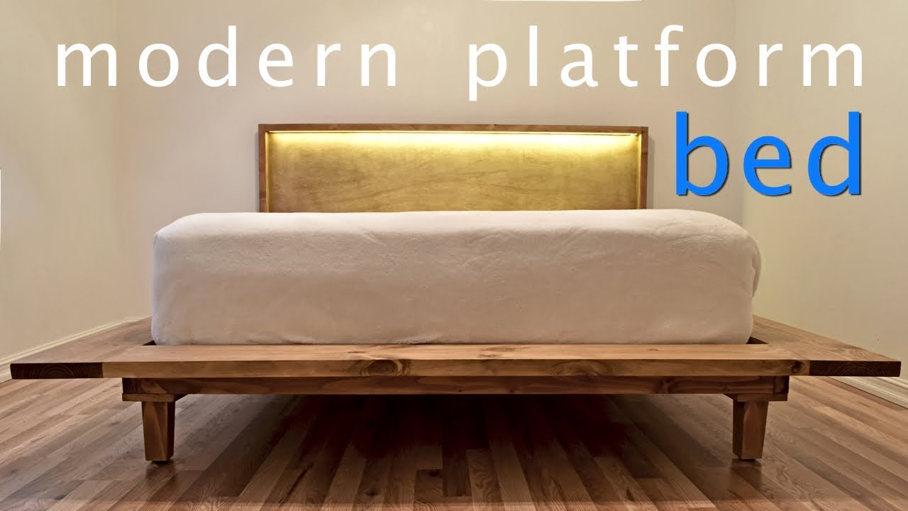 how to build a modern platform bed w lights diy youtube