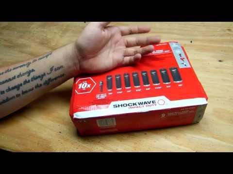 "Milwaukee Shockwave 1/2"" Drive 9 Piece Thin Wall Deep Impact Socket Set"