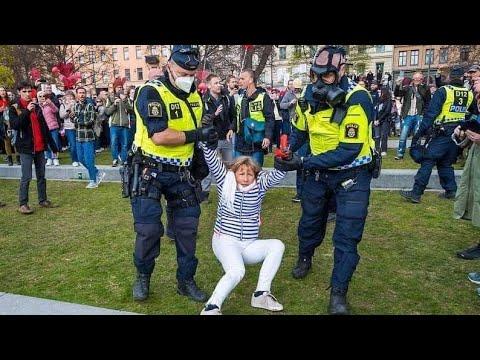 Demonstration i centrala Stockholm