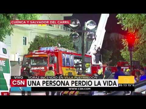 C5N - Sociedad: Voraz incendio en un edificio de Villa Pueyrredón