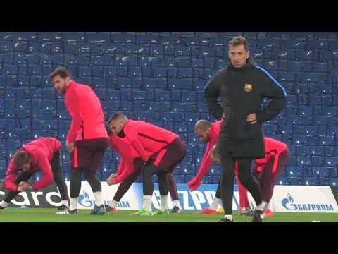 Messi and Barcelona train at Stamford Bridge ahead of Chelsea clash