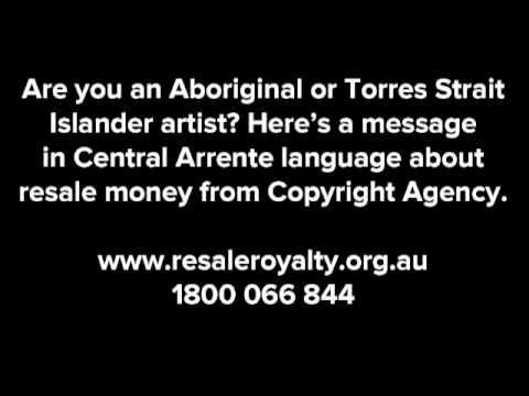 Resale money message in Central Arrente language