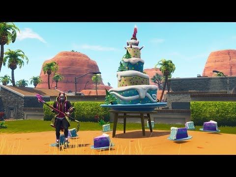 Fortnite Battle Royale - All 10 Birthday Cake Locations (Fortnite 1st Birthday Challenges)