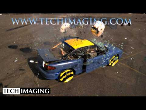 High Speed Camera Video - Air bags set off in a car