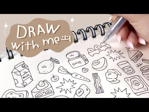 Draw with me | ไอเดียวาดรูปตกแต่งน่ารักๆธีมอาหารเช้า🍞🥚🧈 | aaaiikoo'