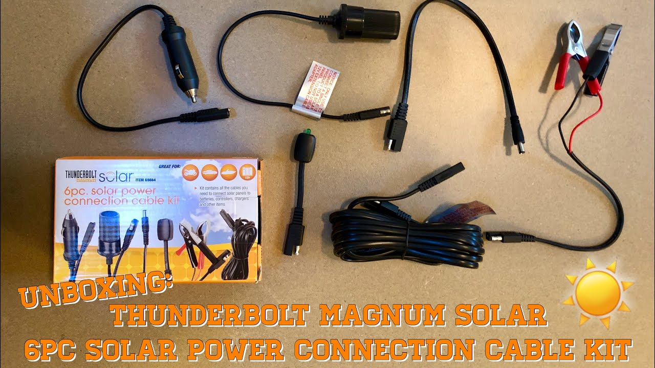 Tunderbolt Magnum Solar 6pc Solar Power Connection Cable Kit Unboxing Harbor Freight Solar Kit Youtube
