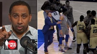 Stephen A. denies storming the court to break up Joel Embiid & Eric Bledsoe   Stephen A. Smith Show