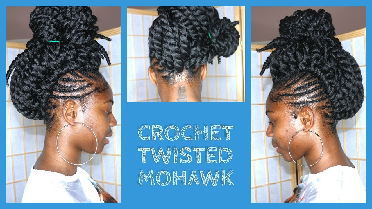 crochet braids mohawk with pre-twisted hair - youtube