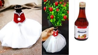 Bridal bottle decorating  idea#for a syrup bottle/diy best out of waste bottle craft