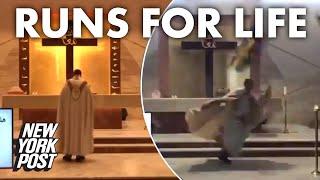 Beirut priest runs for life during livestreamed Mass as debris falls during blast | New York Post