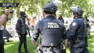 Police move in as Antifa & right-wing groups clash in Portland