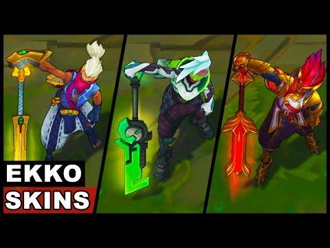 All Ekko Skins Spotlight SKT T1 PROJECT Sandstorm Academy (League of Legends)