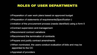 Role of User Department in the Procurement Process