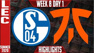 S04 vs FNC Highlights | LEC Summer 2020 W8D1 | Schalke 04 vs Fnatic