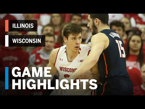 Wisconsin Badgers - Wisconsin hangs on to defeat Illinois 64-58