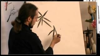 """Обучение китайской живописи бамбука.Часть 8 """"Мазок Огня Листья бамбука"""""""