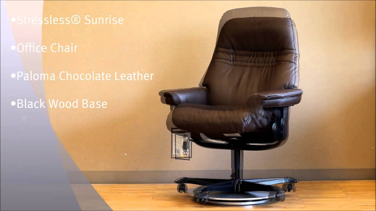 stressless sunrise office chair in paloma chocolate leather and