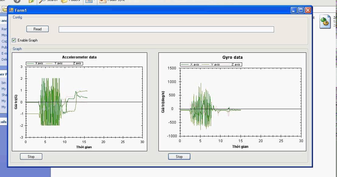 Movement Sensor and DAQ U1001 measurement results
