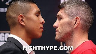 JAIME MUNGUIA GOES FACE TO FACE WITH LIAM SMITH; SIZE EACH OTHER UP AT INTENSE STAREDOWN