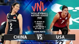 China vs USA | Highlights | Women's VNL 2019