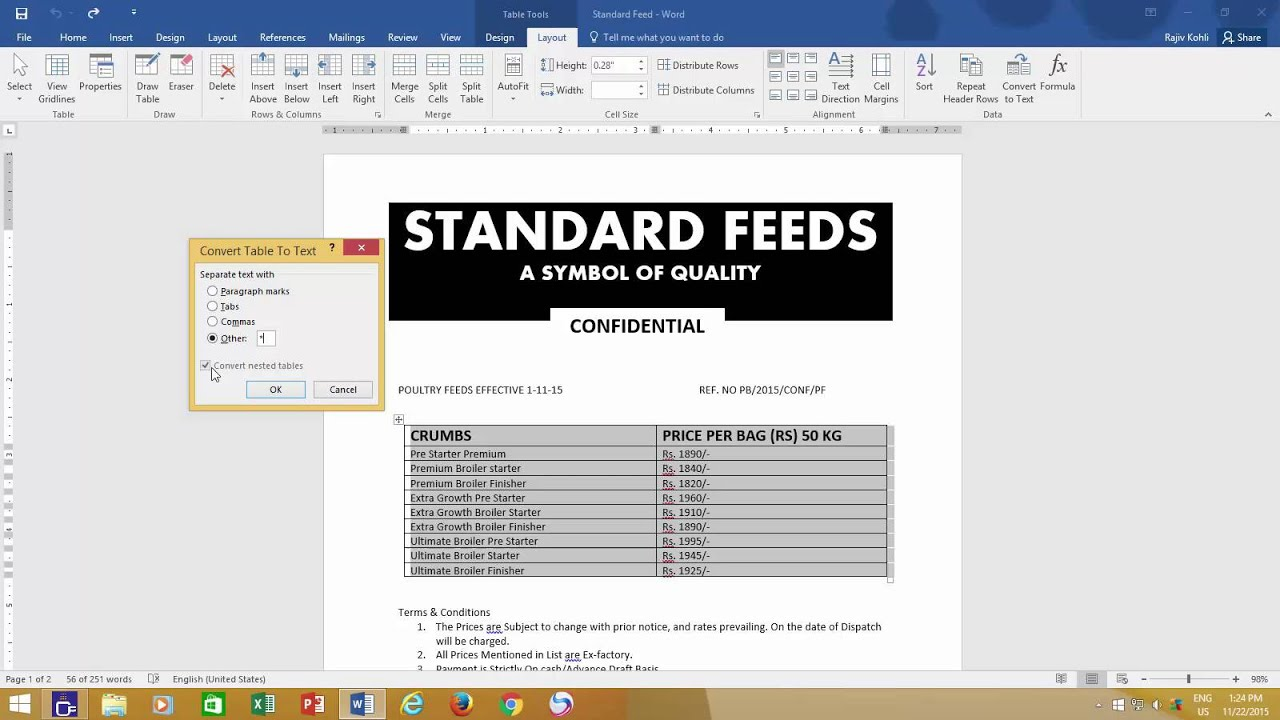 How To Convert A Table To Text In Microsoft Word 2016 Tutorial The