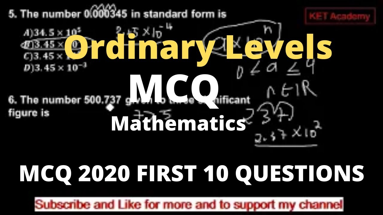 Download Cameroon 2020 GCE MCQ for Ordinary Levels(KET Academy)