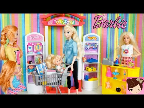 Elsa & Anna Toddlers Go Shopping at the Toy Store Playset