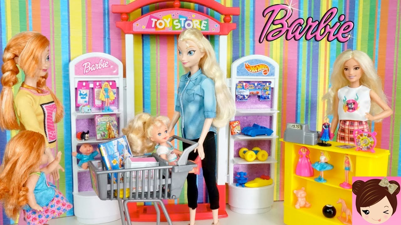 Elsa Anna Toddlers Go Shopping At The Toy Store Playset Youtube