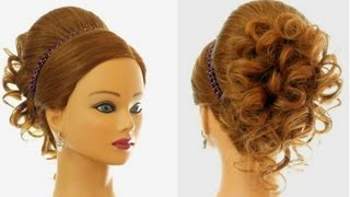 Repeat youtube video Wedding prom hairstyle for long hair. Updo tutorial