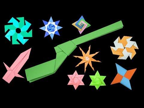 09 Easy #Origami Paper Ninja Star/Sword/gun - How to Make Step by Step