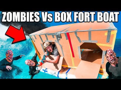 24 HOUR BOX FORT ZOMBIES  Zombies Vs Box Fort Boat Base!!