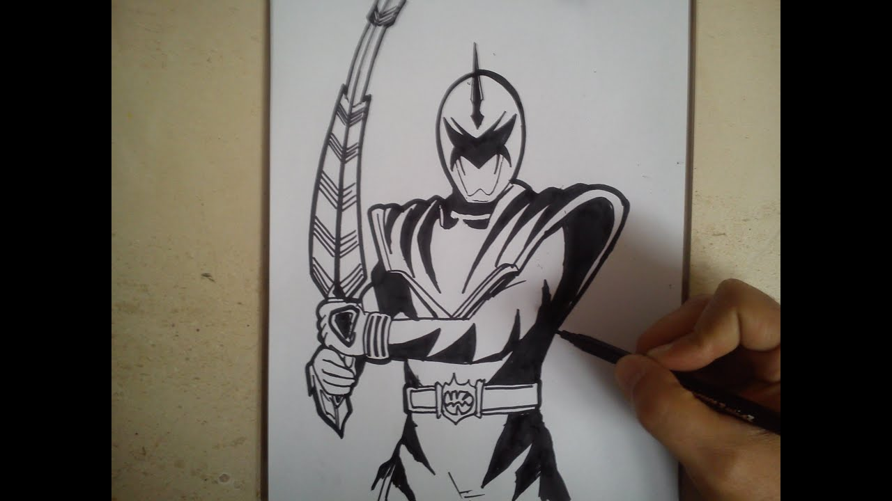 COMO DIBUJAR POWER RANGER DINO TRUENO BLANCO / how to draw power ...