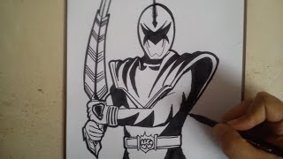 COMO DIBUJAR POWER RANGER DINO TRUENO BLANCO / how to draw power ranger dino thunder white