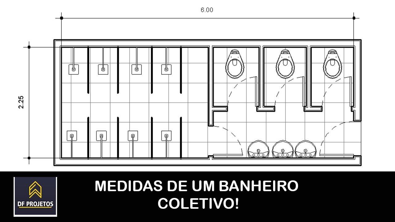 Medidas de um banheiro publico  YouTube -> Tamanho Minimo De Pia De Banheiro
