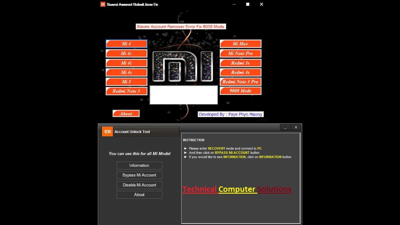 Mi Account Unlock Tool Xiaomi Account Unlock Error Fix