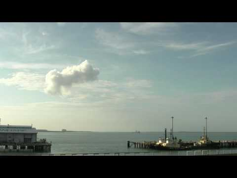 Convection cloud forms when loading LNG onto ship - Darwin Northern Territory AUSTRALIA *1080 HD*