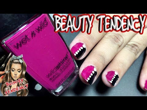 Easy nail art designs! #DIY Pretty black & pink & silver NAILS TUTORIAL# nail art for Christmas 2017