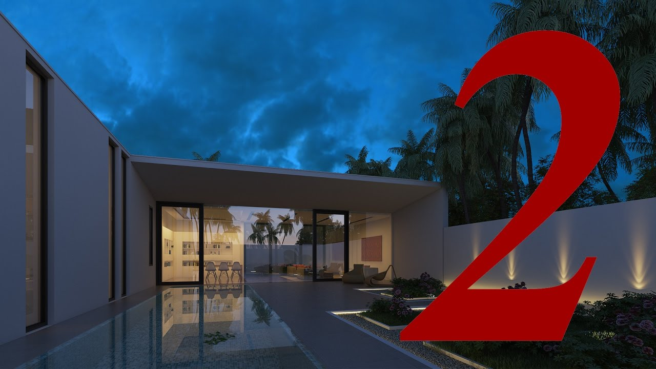 [ Vray For Sketchup ] Making Of Night View Exterior Part 2 Edit Photoshop