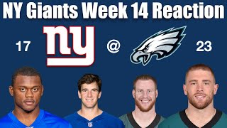 NY Giants Week 14 Reaction (The Return of Eli)