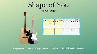 Guitar Tab - Chords - Shape of You - Acoustic Cover
