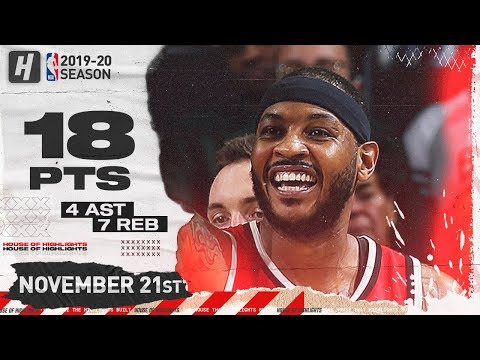 Carmelo Anthony 18 Pts Full Highlights   Blazers vs Bucks   November 21, 2019
