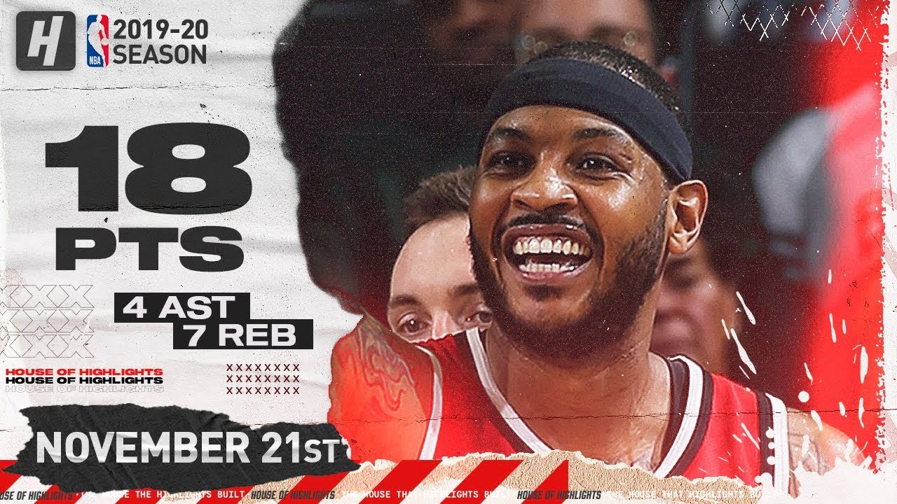 Carmelo Anthony 18 Pts Full Highlights | Blazers vs Bucks | November 21, 2019