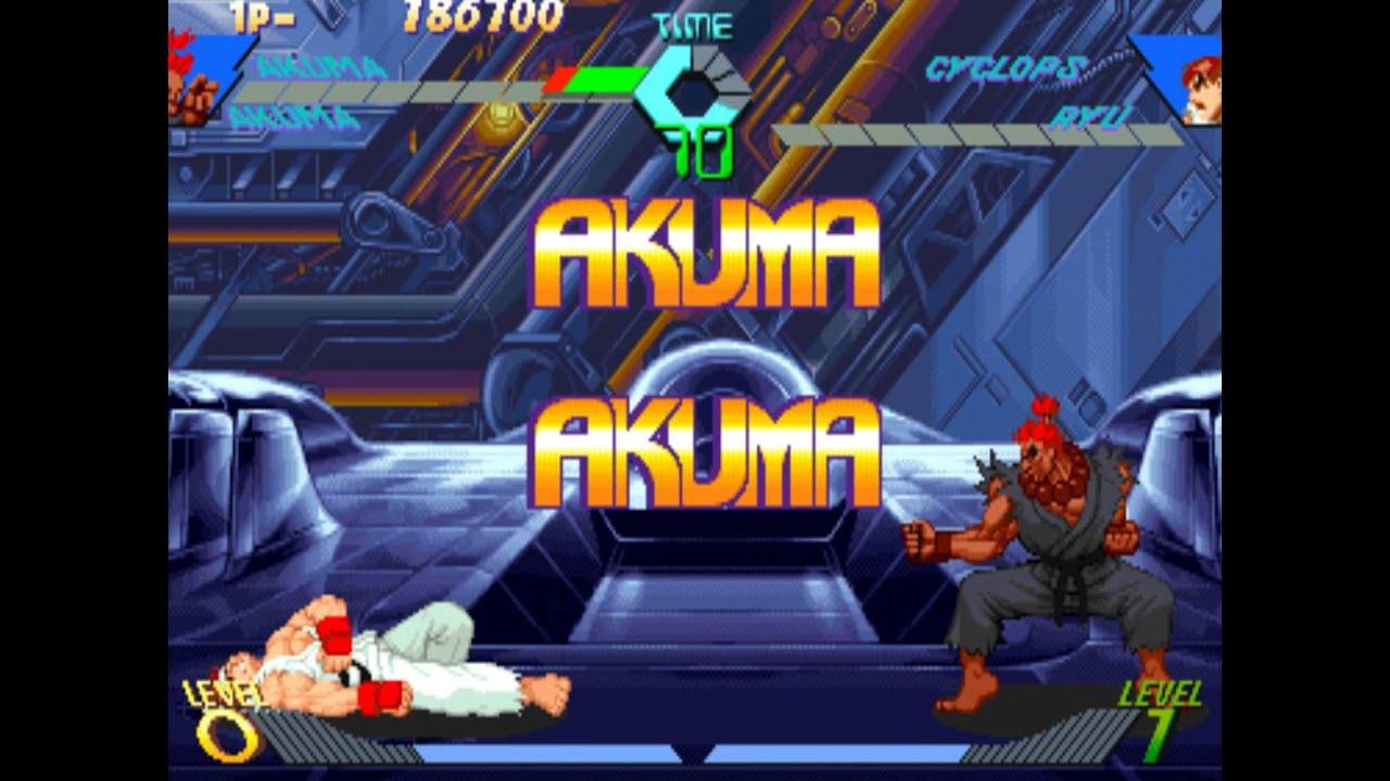 225 X Men Vs Street Fighter Hidden Characters 1 2 Akuma Gameplay Youtube