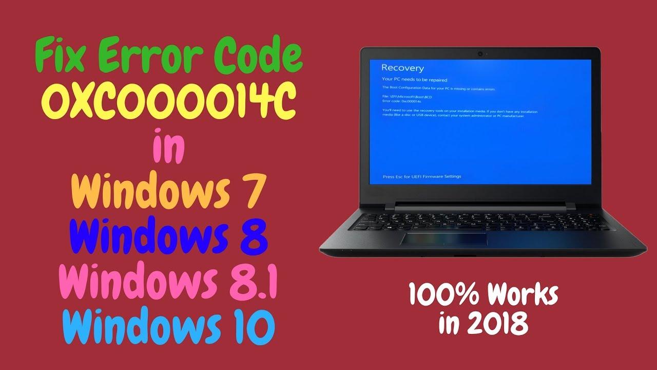 Fix Error Code 0XC000014C in Windows 10, 8 1, 8, 7