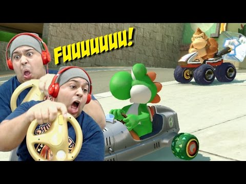 [HILARIOUS!] I REGRET USING THIS F#%KING WHEEL!!! [MARIO KART 8 / With STEERING WHEEL]