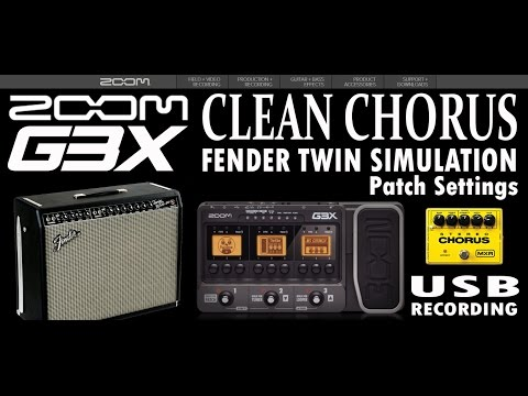 ZOOM G3 CLEAN CHORUS and Fender Twin Simulation PATCH G1on, G5.