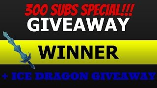 NEW GODLY ICE DRAGON GIVEAWAY!!! + GIVEAWAY WINNER!!!! | Roblox (Muder Mystery 2 !) 300 SUBS SPECIAL!