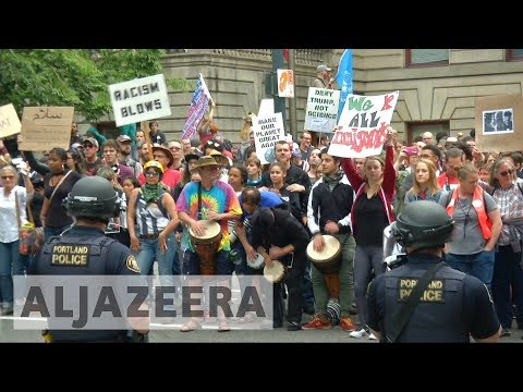 Clashes erupt in Portland at far-right, anti-Trump rallies